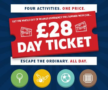 Day Ticket for Out Of Bounds, Rustington. £28 for four activities.